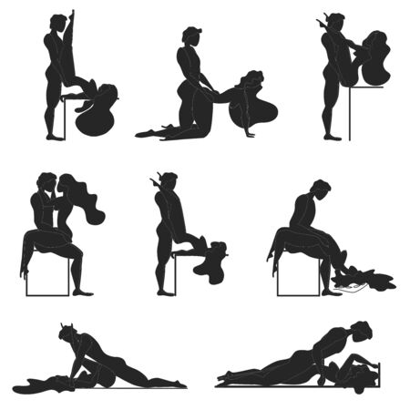 Cartoon Different Sex Poses. Concept Of Passion Erotic. Kamasutra, sketchy poses for making love. Set. Yin and Yang, man and woman love each other 일러스트