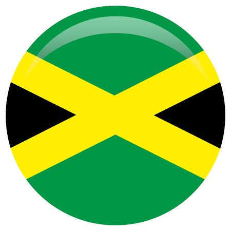 Waving flag of Jamaica. Fluttering textile jamaican flag. The Cross, Black, green, and gold. Banque d'images - 126088983