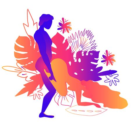 Kama Sutra, a man and a woman have sex. The art of love. Sexual position Standing Wheelbarrow.Against the backdrop of tropical leaves Monstera and flowers. Warm Gradients, Yin-Yang