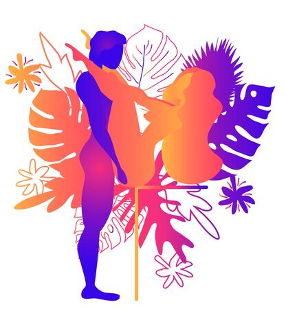 Kama Sutra, a man and a woman have sex. The art of love. Sexual position Erotic V.Against the backdrop of tropical leaves Monstera and flowers. Warm Gradients, Yin-Yang