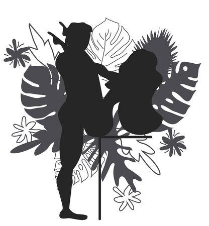 Kama Sutra, a man and a woman have sex. The art of love. Sexual position Erotic V.Against the background of a bouquet of tropical leaves of palm trees, monster and flowers. Monochrome