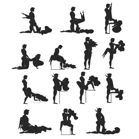 Cartoon verschiedene Sex-Posen. Konzept der Leidenschaft Erotik. Kamasutra, skizzenhafte Posen zum Liebesspiel. Einstellen. Yin und Yang, Mann und Frau lieben sich