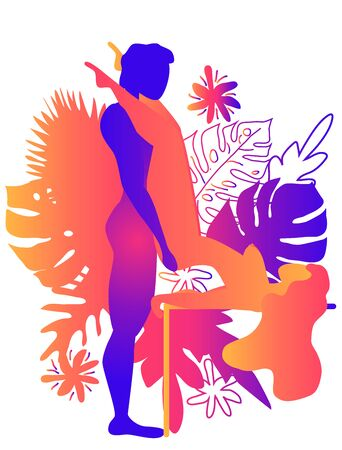 Kama Sutra, a man and a woman have sex. The art of love. Sexual position Butterfly.Against the backdrop of tropical leaves Monstera and flowers. Warm Gradients, Yin-Yang Vectores