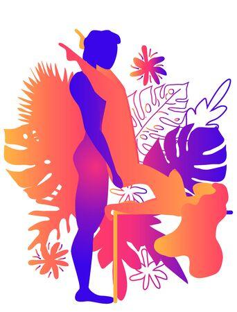 Kamasutra, ein Mann und eine Frau haben Sex. Die Kunst der Liebe. Sexuelle Stellung Butterfly.Against vor dem Hintergrund tropischer Blätter Monstera und Blumen. Warme Farbverläufe, Yin-Yang Vektorgrafik