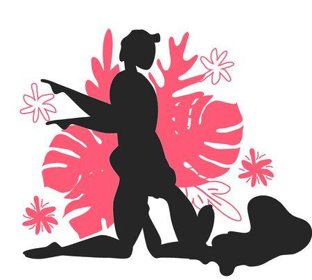 Kama Sutra, un hombre y una mujer tienen relaciones sexuales. El arte del amor. Posición sexual Tumbona contra el fondo de un ramo de hojas tropicales de palmeras, monstruos y flores. Monocromo