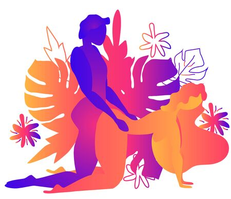 Kama Sutra, a man and a woman have sex. The art of love. Sexual position Doggy Style.Against the backdrop of tropical leaves Monstera and flowers. Warm Gradients, Yin-Yang Vectores