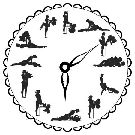 Reloj Concept Love, para hacer el amor en cualquier momento es bueno. Kamasutra, poses esquemáticas para hacer el amor. Ilustración de vector