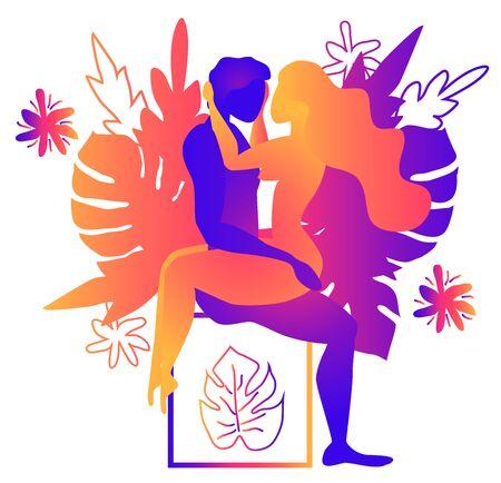 Kamasutra, ein Mann und eine Frau haben Sex. Die Kunst der Liebe. Sexuelle Stellung Amazon.Vor dem Hintergrund der tropischen Blätter Monstera und Blumen. Warme Farbverläufe, Yin-Yang