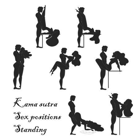 Kamasutra, pose abbozzate per fare l'amore. Impostato. Posizioni in piedi