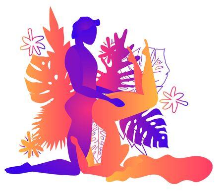 Kama Sutra, un homme et une femme ont des relations sexuelles. L'art de l'amour. Position sexuelle G-Force.Contexte de feuilles tropicales Monstera et de fleurs. Dégradés chauds, Yin-Yang Vecteurs