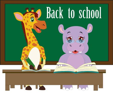 background with funny hippopotamus and giraffe and a blackboard with the words Back to school