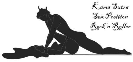 Kama Sutra, un hombre y una mujer tienen relaciones sexuales. El arte del amor. Posición sexual Rock n Roller