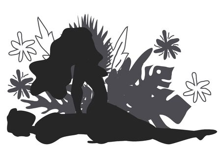 Kama Sutra, un hombre y una mujer tienen relaciones sexuales. El arte del amor. La posición sexual recompensa a la vaquera contra el fondo de un ramo de hojas tropicales de palmeras, monstruos y flores. Monocromo Ilustración de vector