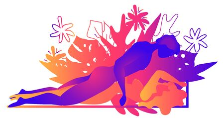 Kama Sutra, a man and a woman have sex. The art of love. Sexual position Nirvana.Against the backdrop of tropical leaves Monstera and flowers. Warm Gradients, Yin-Yang Illustration