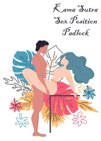 Kama Sutra, a man and a woman have sex. The art of love. Sexual position Padlock. Against the background of a bouquet of tropical leaves of palm trees, monster and flowers. Scandinavian style