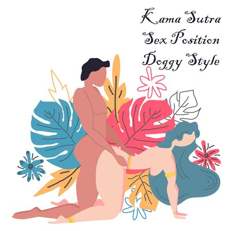 Kama Sutra, a man and a woman have sex. The art of love. Sexual position Doggy Style. Against the background of a bouquet of tropical leaves of palm trees, monster and flowers. Scandinavian style