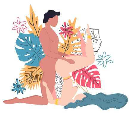 Kama Sutra, a man and a woman have sex. The art of love. Sexual position G-Force. Against the background of a bouquet of tropical leaves of palm trees, monster and flowers. Scandinavian style