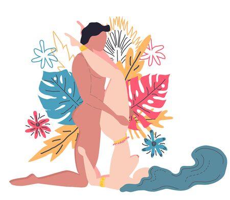 Kamasutra, ein Mann und eine Frau haben Sex. Die Kunst der Liebe. Sexuelle Position Schulterstand. Vor dem Hintergrund eines Bouquets aus tropischen Blättern von Palmen, Monstern und Blumen. Skandinavischer Stil