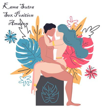 Kama Sutra, a man and a woman have sex. The art of love. Sexual position Amazon. Against the background of a bouquet of tropical leaves of palm trees, monster and flowers. Scandinavian style