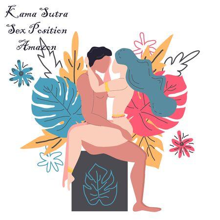 Kama Sutra, un hombre y una mujer tienen relaciones sexuales. El arte del amor. Posición sexual Amazona. En el contexto de un ramo de hojas tropicales de palmeras, monstruos y flores. Estilo escandinavo
