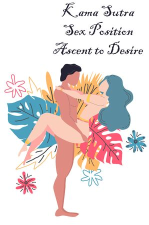 Kama Sutra, a man and a woman have sex. The art of love. Sexual position Ascent to Desire. Against the background of a bouquet of tropical leaves of palm trees, monster and flowers. Scandinavian style