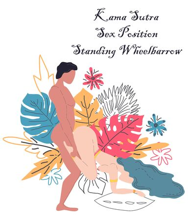 Kama Sutra, a man and a woman have sex. The art of love. Sexual position Standing Wheelbarrow.Against the background of a bouquet of tropical leaves of palm trees, monster and flowers. Scandinavian