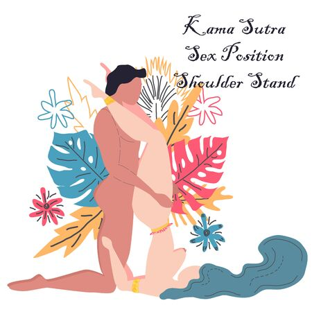 Kama Sutra, a man and a woman have sex. The art of love. Sexual position Shoulder Stand. Against the background of a bouquet of tropical leaves of palm trees, monster and flowers. Scandinavian style