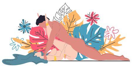 Kama Sutra, een man en een vrouw hebben seks. De kunst van de liefde. Seksuele positie Rock n Roller. Tegen de achtergrond van een boeket van tropische bladeren van palmbomen, monster en bloemen. Scandinavische stijl