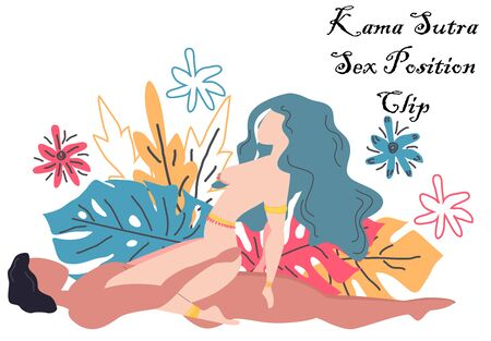 Kama Sutra, a man and a woman have sex. The art of love. Sexual position Clip. Against the background of a bouquet of tropical leaves of palm trees, monster and flowers. Scandinavian style