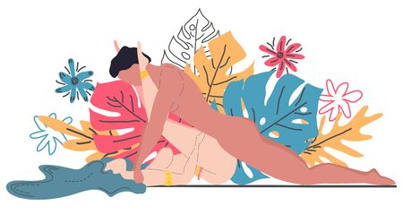 Kama Sutra, un uomo e una donna fanno sesso. L'arte dell'amore. Posizione sessuale Rock n Roller. Sullo sfondo di un bouquet di foglie tropicali di palme, mostri e fiori. Stile scandinavo Vettoriali