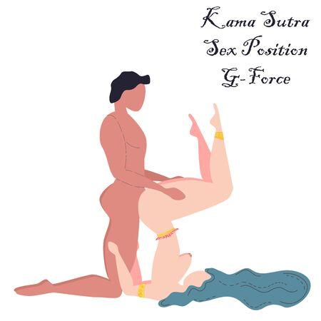 Kama Sutra, een man en een vrouw hebben seks. De kunst van de liefde. Seksuele positie G-Force