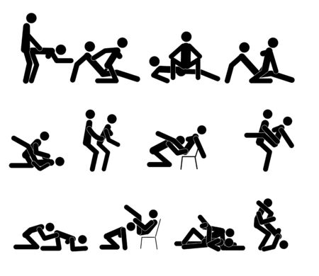 Kamasutra, sketchy poses for making love. Set. Yin and Yang, man and woman love each other. Kamasutra, the art of love