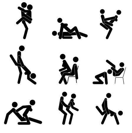 Dibujos animados de diferentes poses de sexo. Concepto de pasión erótica. Kamasutra, poses esquemáticas para hacer el amor. Colocar. Yin y Yang, el hombre y la mujer se aman