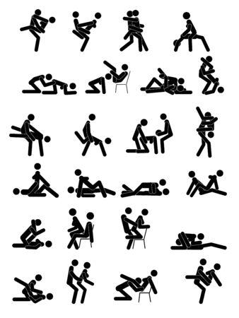 Kamasutra, schetsmatige poses om de liefde te bedrijven. Instellen. Yin en Yang, man en vrouw houden van elkaar. Kamasutra, de kunst van de liefde
