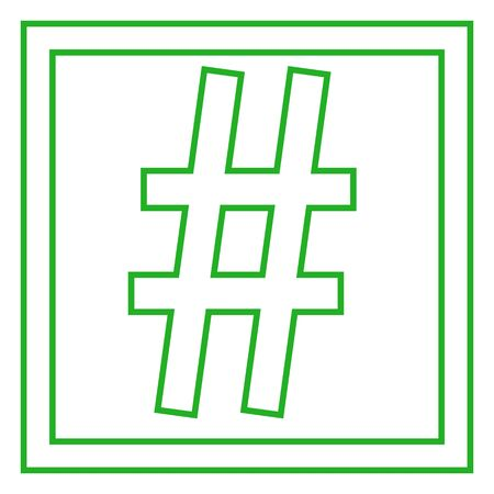 Hashtag signs. Number sign, hash, or pound sign.