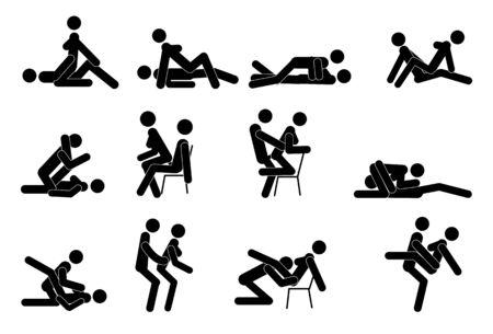 Dibujos animados de diferentes poses de sexo. Concepto de pasión erótica. Kamasutra, poses esquemáticas para hacer el amor. Colocar. Yin y Yang, el hombre y la mujer se aman Ilustración de vector