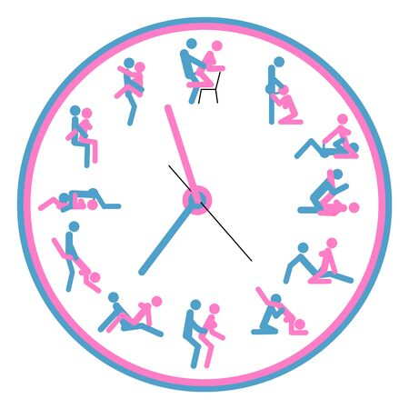 Concept Love watch, for making love any time is good. Kamasutra, sketchy poses for making love. Illustration