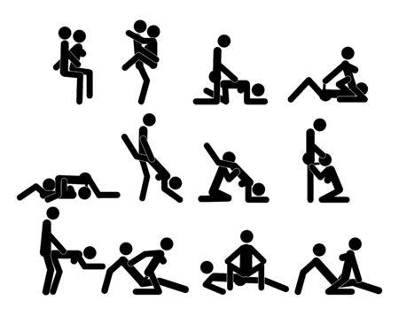 Kamasutra, skizzenhafte Posen zum Liebesspiel. Einstellen. Yin und Yang, Mann und Frau lieben sich. Kamasutra, die Kunst der Liebe