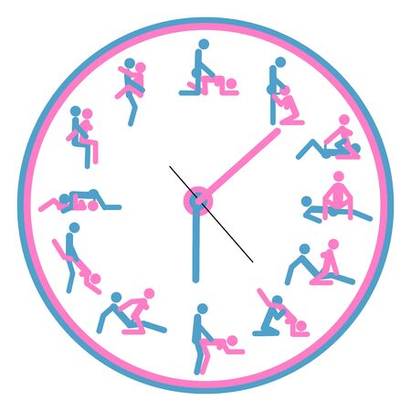 Concept art Watch love, for making love any time is good. Kamasutra, sketchy poses for making love. Blue and pink Ilustração Vetorial