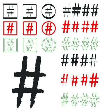 Hashtag signs. Number sign, hash, or pound sign. Collection of 33 symbols isolated on a white background Ilustração