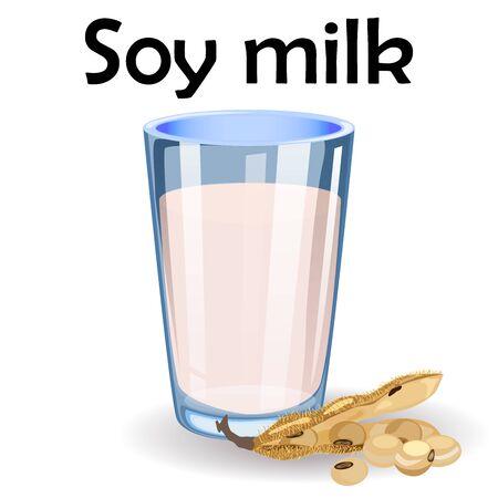 Lait de soja dans un verre isolé sur fond blanc. Fèves de soja. illustration d'une boisson végétalienne saine dans un style plat simple de dessin animé.