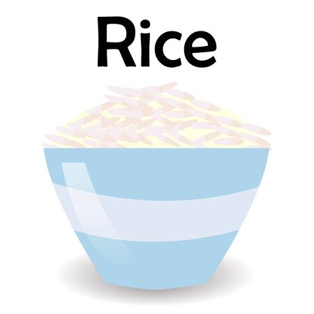 Rice bowl. Hand drawn illustration of short-grained rice with panicle on white background. Иллюстрация