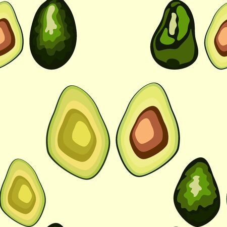 Avocado seamless pattern. print, fabric and organic, vegan, raw products packaging. eco and healthy food 版權商用圖片 - 129171917