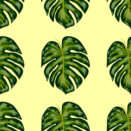 Monstera, green beautiful detailed leaves assembled into a seamless pattern.