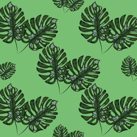 Tropical leaf design featuring blue Monstera plant leaves. Seamless repeating pattern.