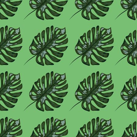 Indigo seamless pattern with monstera palm leaves. Summer tropical camouflage fabric design.