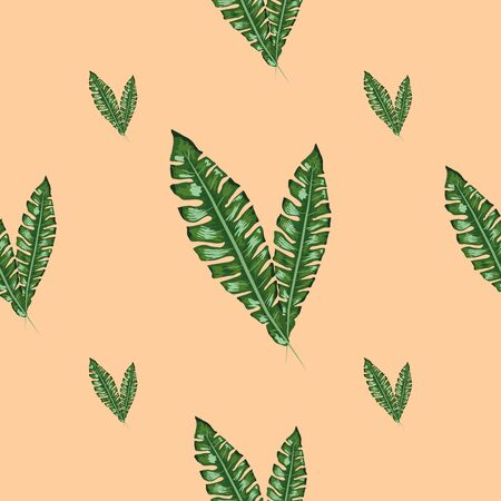 Beautiful seamless vector floral summer pattern with banana leaves. wallpapers, web page backgrounds, surface textures, textile. Çizim
