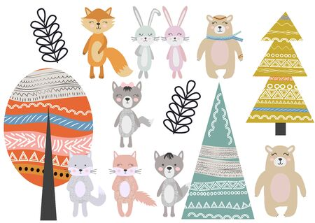 Cute Scandinavian Style Animals and Design Elements. A set of animals in the Scandinavian style: bear, fox, rabbits, cats, wolves. Trees and mountains.