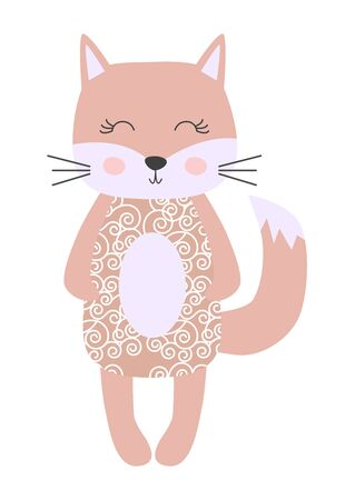 Cute cartoon cat girl in scandinavian style. Childish print, nursery, kids apparel,poster, postcard