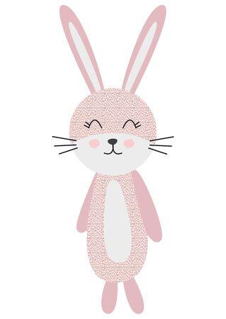 Cute cartoon rabbit in scandinavian style. Childish print for nursery, kids apparel,poster, postcard.